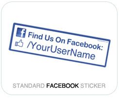 Standard Size Follow Me Sticker - For Facebook Fan Pages! Specify your Custom Username on each sticker! http://followmesticker.com/facebook-sticker/