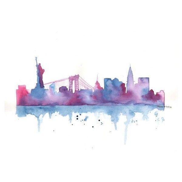 Watercolor New York: Original Watercolor Painting New York City Skyline
