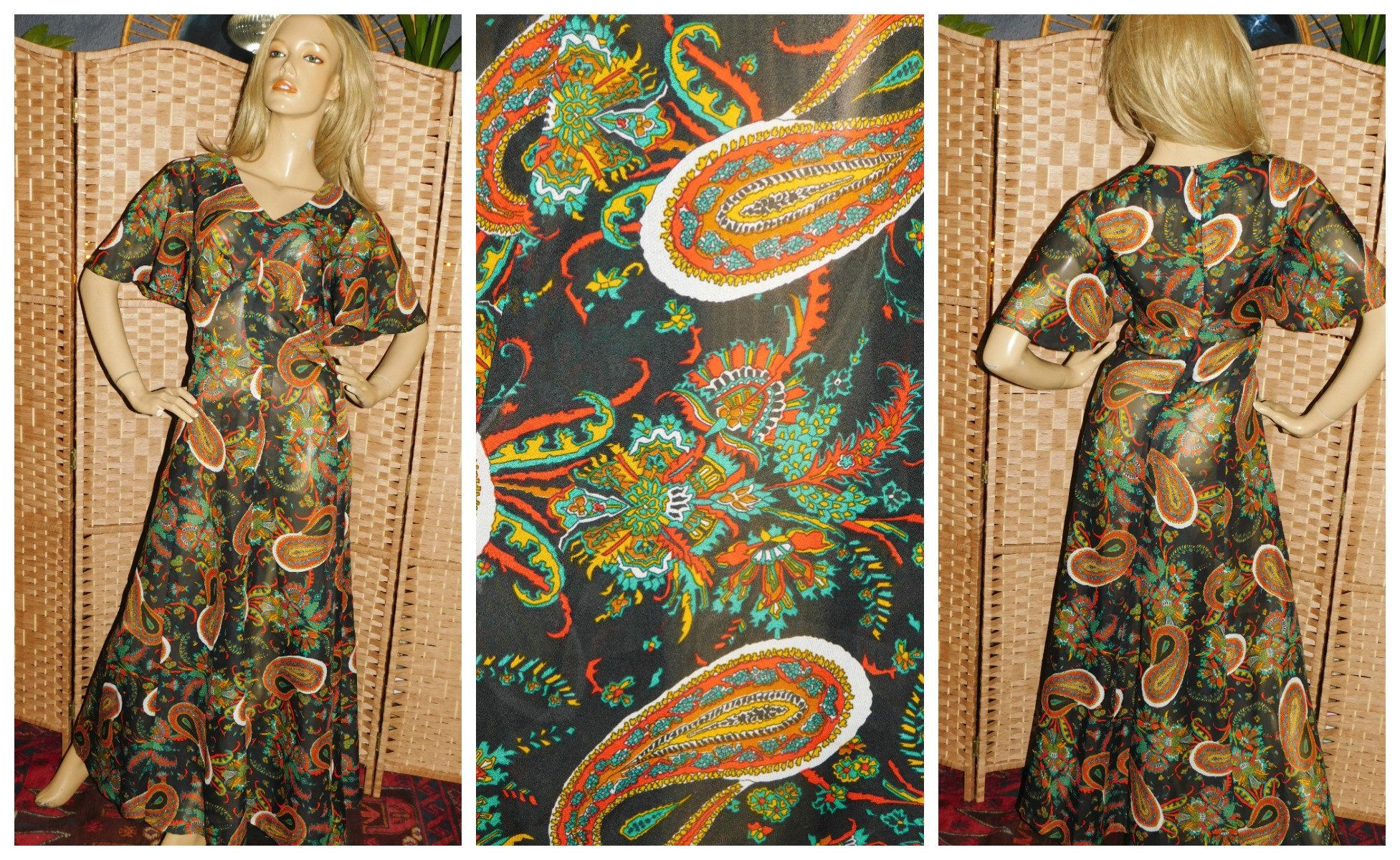 Black and White Victoriana Psychadelic Dress Vintage 60s Brown