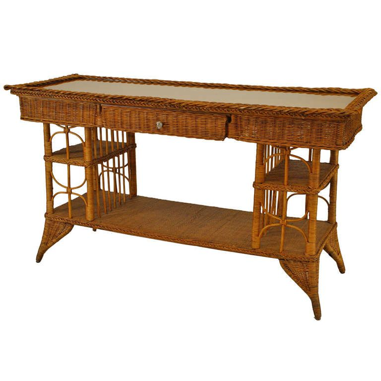Late 19th C Wicker Davenport Table Attributed To Heywood Wakefield Victorian Wicker Vintage Wicker Furniture Indoor Wicker Furniture