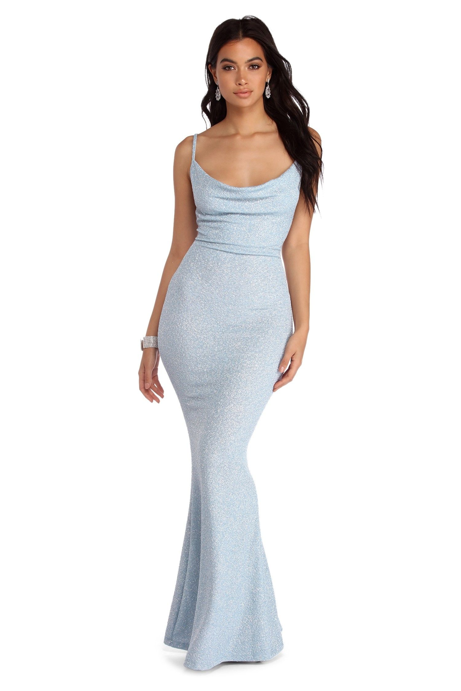 Stella Glitter Formal Cowl Dress Blue Sparkly Dress Old Hollywood Dress Prom Dresses With Sleeves