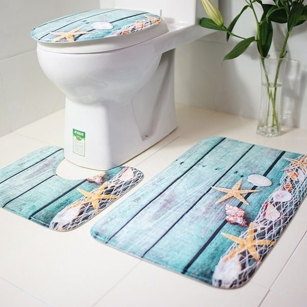 Starfish Shell Printing Non Slip Mat Bathroom With Toilet Mat Non