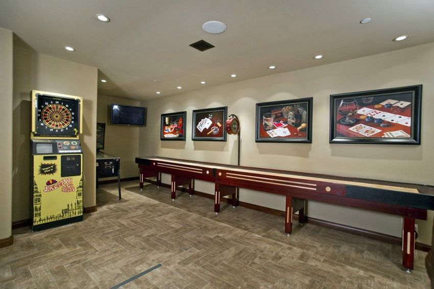 Game Room With Full Size Shuffleboard Table
