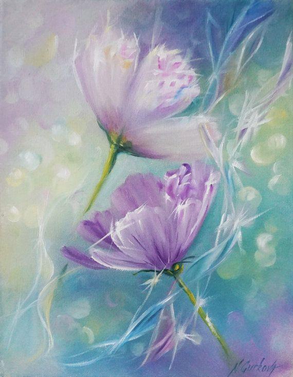 Articulos Similares A Pintura Al Oleo Original Pequena Flor Pintura Oleo Sobre Lienzo 11 14 Pulgadas Calidad De G Flower Painting Oil Painting Flowers Art