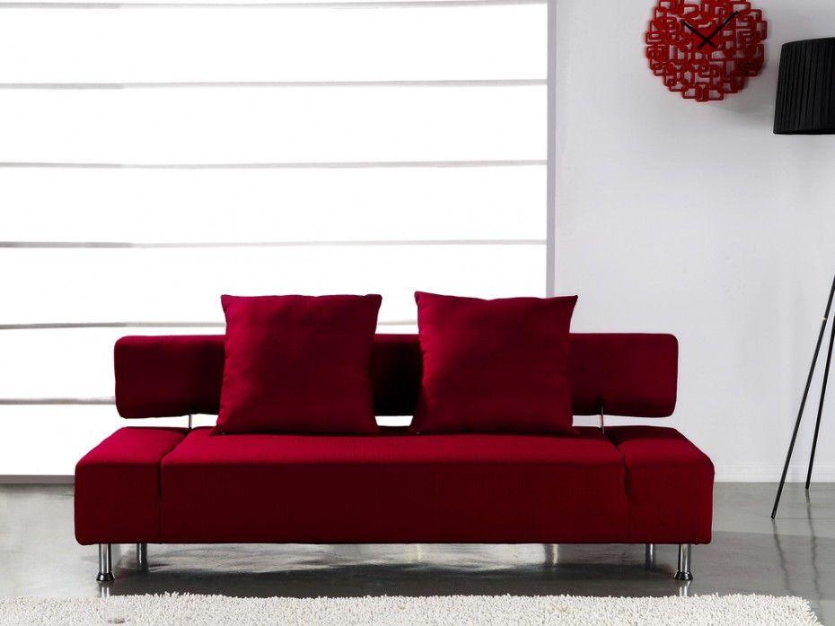 canape clic clac design en tissu rouge soft ii