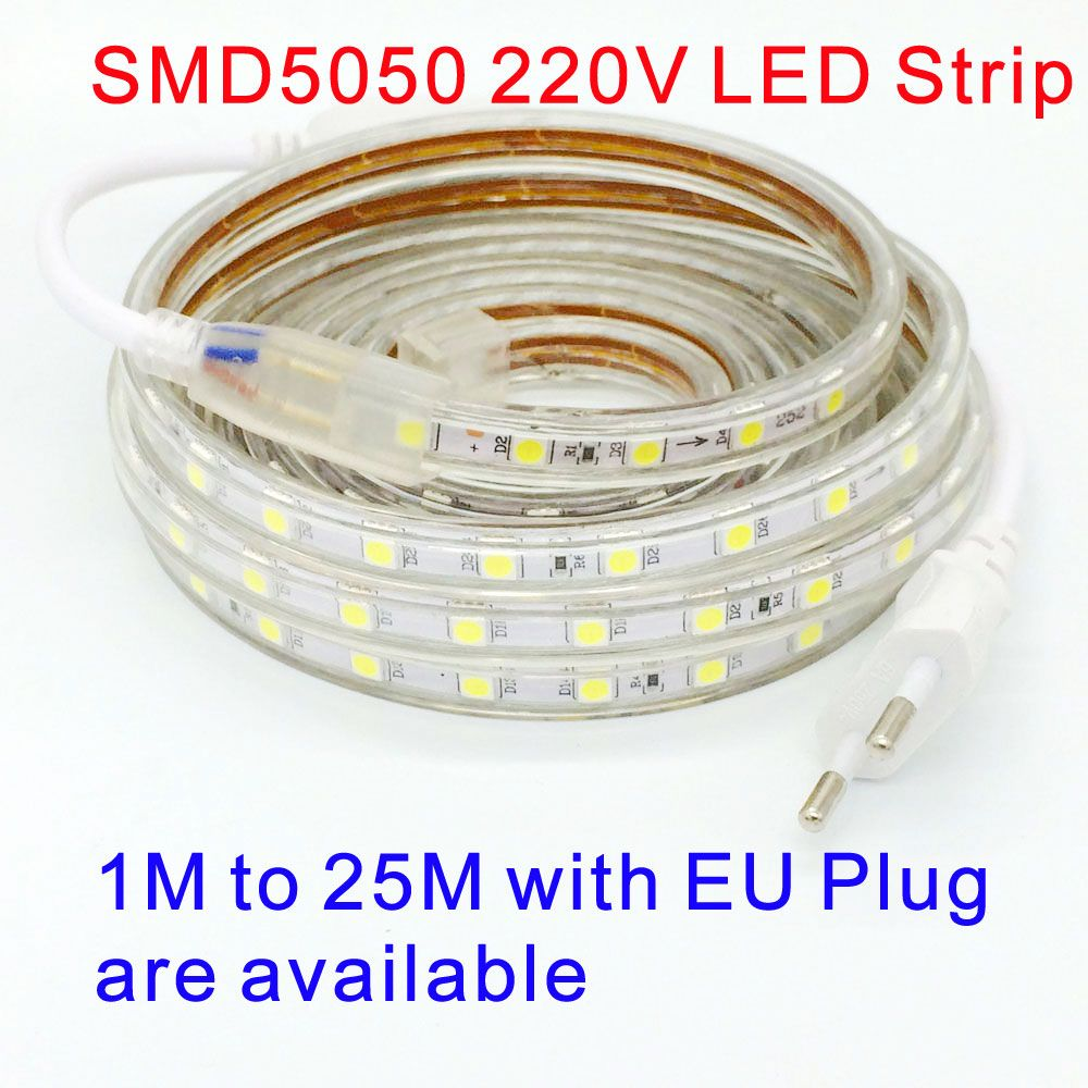 220v Smd 5050 Led Strip Light 220 V Power Plug White Warm White 60leds M 300led Waterproof Ip67 Led Waterproof Led Lights Led Tape Lighting Led Strip Lighting