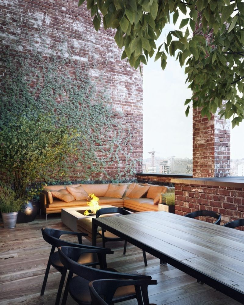 Moderne Klinker Wandgestaltung Esstisch Schwarz Parkett