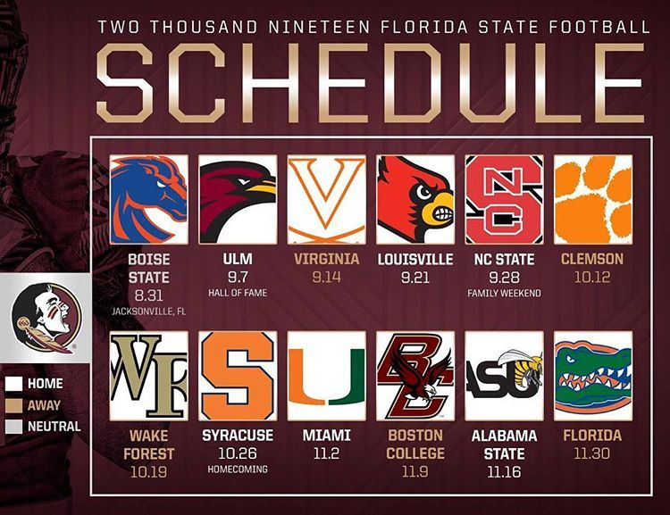 The 2019 Fsufootball Schedule Is Here Go Noles Fsufootball Garnetgoldstore Florida State Football Fsu Football Florida State