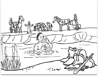 coloring sheet naaman cleansed from leprosy by bathing in the river jordan after elijah gave him instructions from the god of israel - Elijah Bible Story Coloring Pages