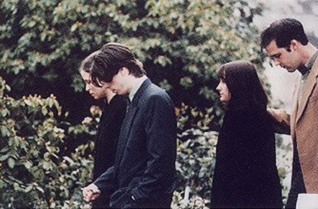 At Kurt's memorial service with then-wife Jennifer Youngblood and Krist Novoselic. I'll just cry myself to sleep