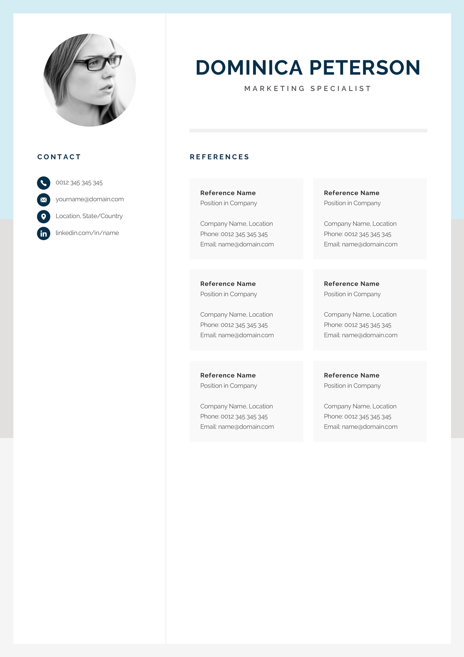 Modern Resume Template Creative Cv With Photo 1 2 Page Marketing Cv Photo Resume For Word Mac Or Pc Instant Download Dominica Cv Template Professional Resume Template Modern Resume Template