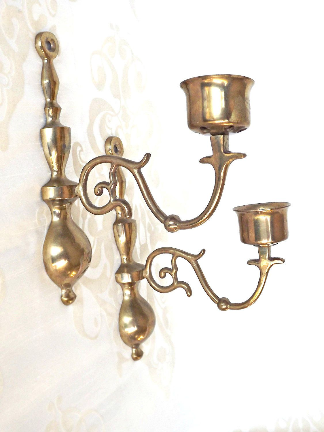 Brass Wall Sconces Hollywood Regency Candle Wall Sconces Vintage