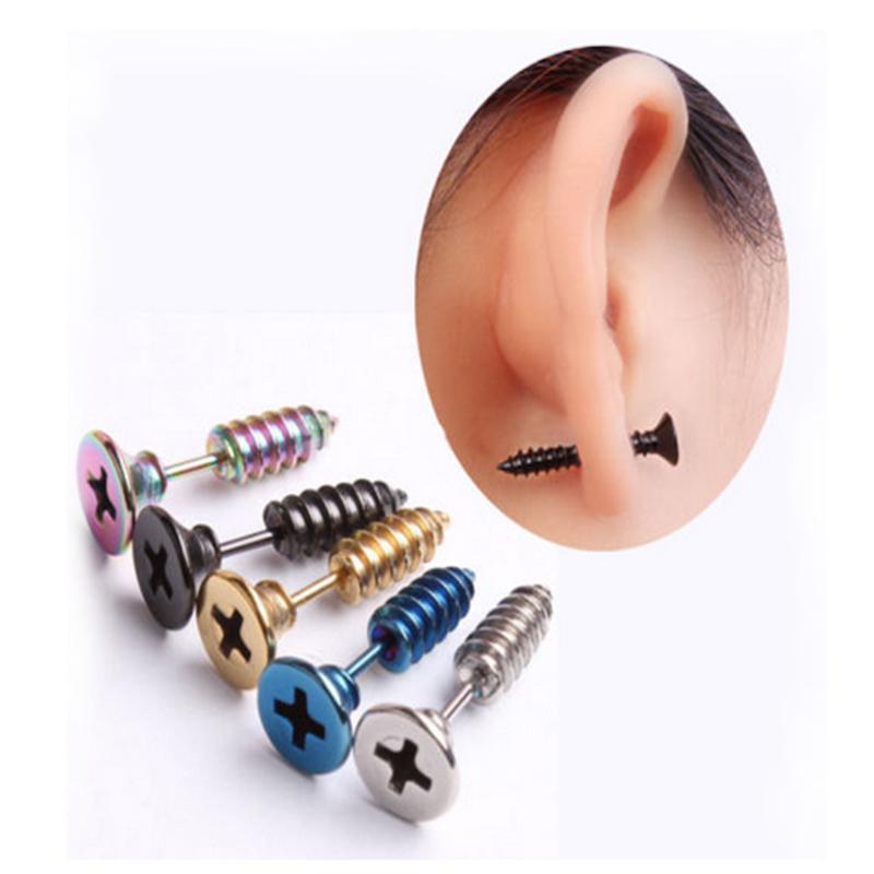 Photo of Punk Style Gothic Unisex Piercing Stud Earrings