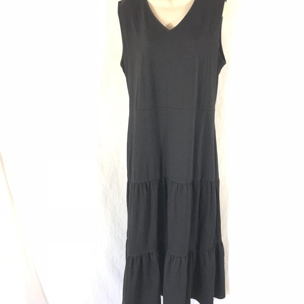ee122108378  DenimDress D Co Denim   Co Tiered Tie Back Black Midi Dress XL Boho Hippie  Lagenlook