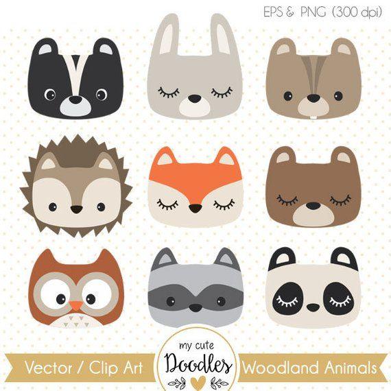 Woodland Clipart Cute Woodland Animal Woodland Nursery Baby Etsy Woodland Party Decorations Woodland Clipart Animal Faces