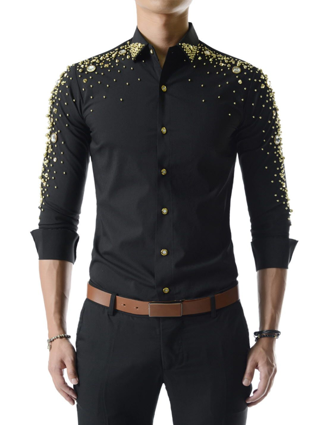 3471838d697 (UNLS01) Slim Fit Showy Stretchy Glitter Bling Long Sleeve Metallic Beads  Shirts