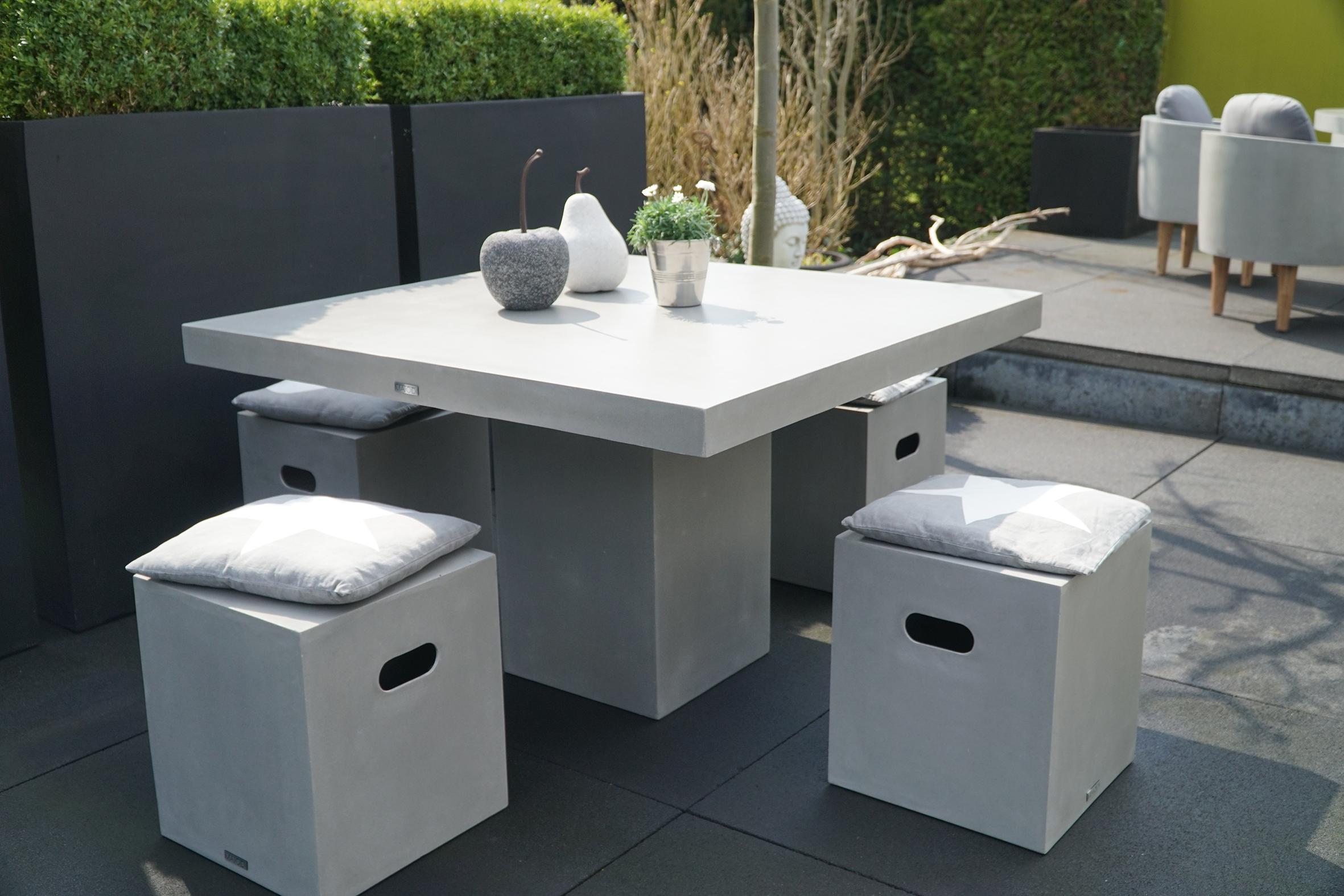 modernes möbelset cube | fiberstone beton gartenmöbel wohnmöbel