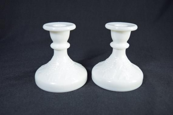 White milk glass candlestick holders for vintage rustic wedding decoration Pair Candle Holders #whitecandleswedding