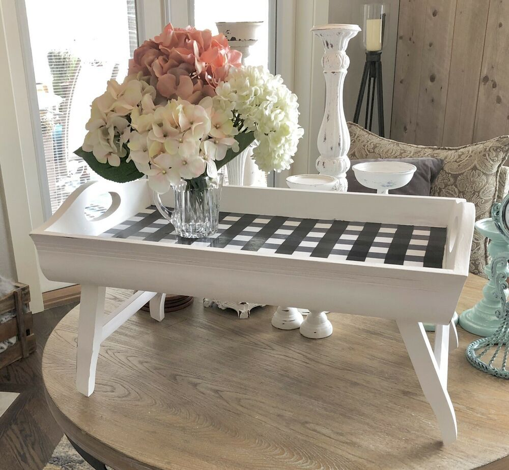 Farmhouse Wooden Serving Tray For Coffee Table Ottoman Decor With Legs Or Not Ebay Coffee Table Ottoman Coffee Table Ottoman Table [ 925 x 1000 Pixel ]