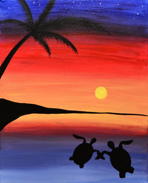 Sea Turtles Tropical Beach Sunset Painting Beginner Idea