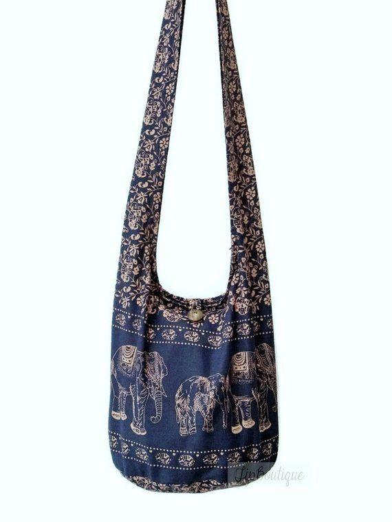 d1bc1fd0aa1 SMALL SIZE Elephant Crossbody Hobo Boho Bag Hippy Vegan Girl Teen Woman Bag  Cotton Fabric Light Bag