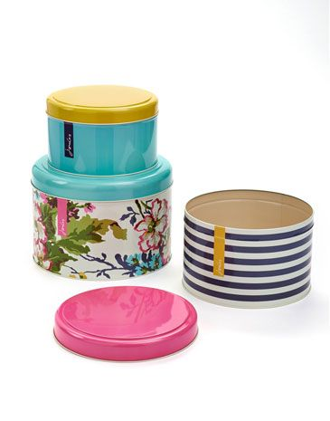 Set Of 3 Large Cake Tins Joules Storage Containers Cake