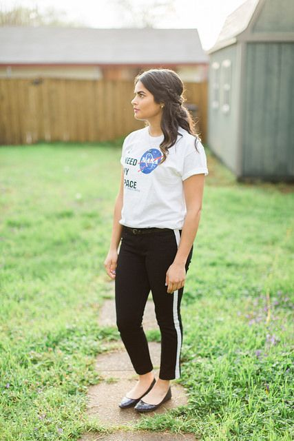 Spring outfit. How to dress up a graphic tee. NASA graphic tee + Old Navy tuxedo pants & glitter flats.