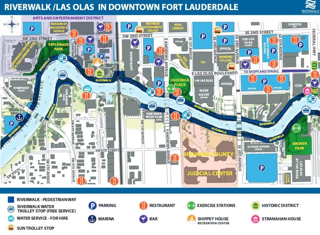 Map Of Weston Florida.Image Of Map Of Riverwalk Las Olas In Downtown Fort Lauderdale