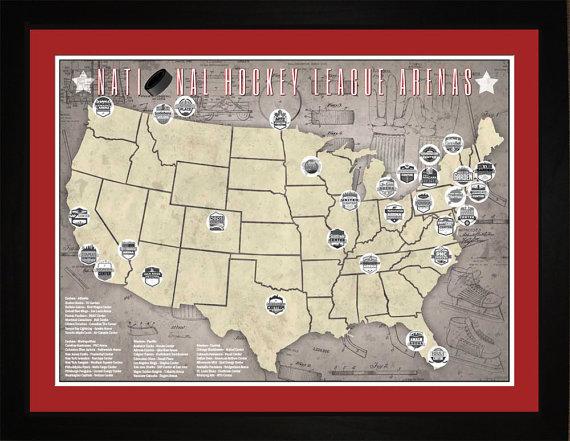 Nhl National Hockey League Arenas Pro Teams Tracking Map Baseball Park Map Print Map Gifts