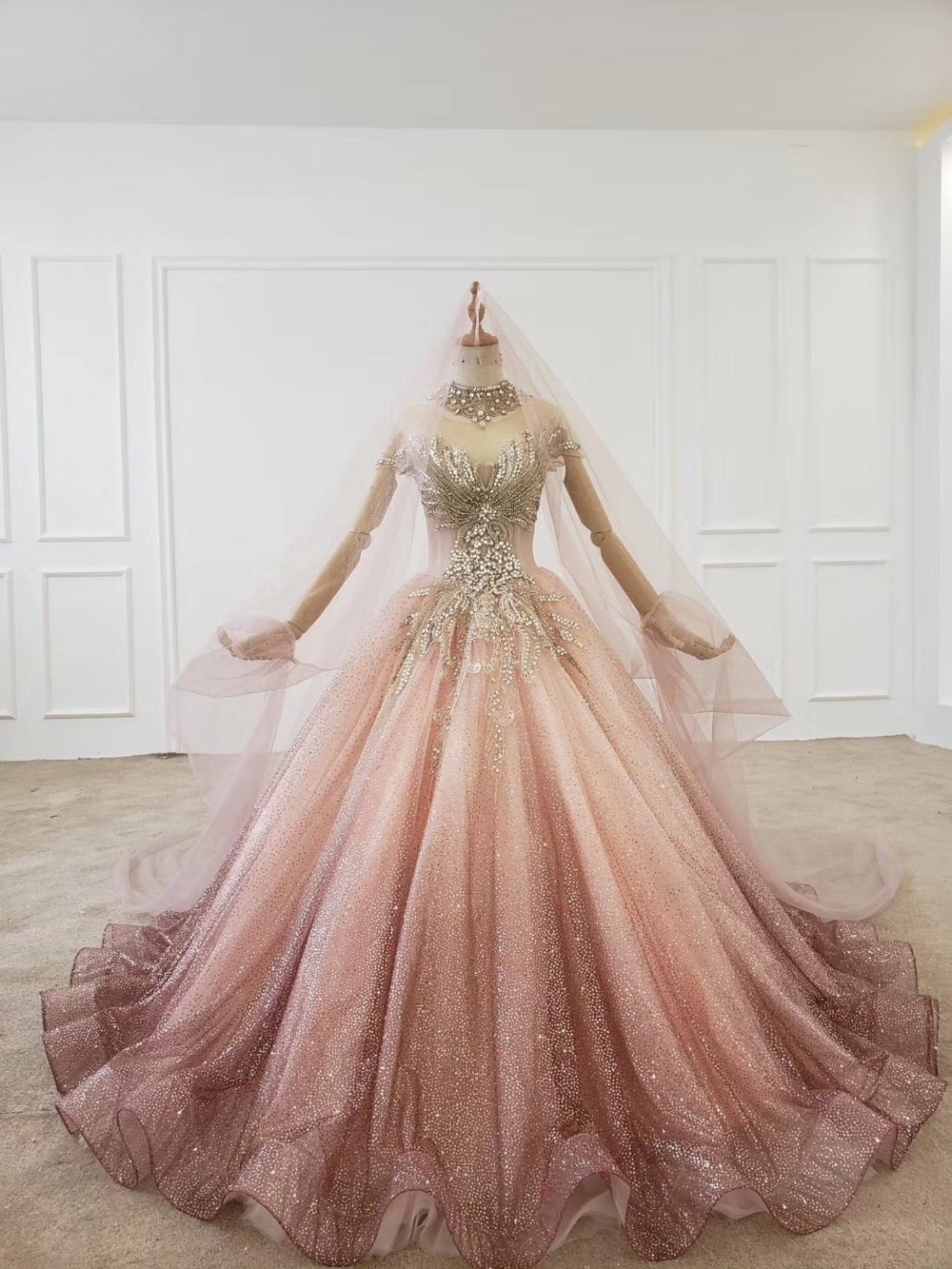 Ombre pink beaded crystals sparkle ball gown weddi