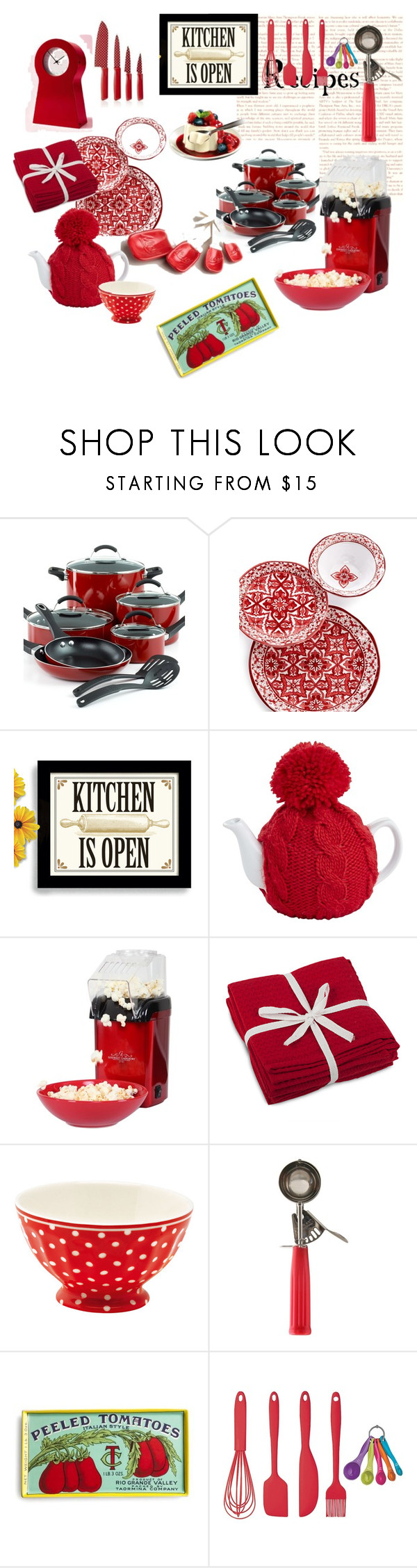 """""""Red in my kitchen"""" by gagenna ❤ liked on Polyvore featuring interior, interiors, interior design, home, home decor, interior decorating, Pier 1 Imports, GreenGate, Retrò and Rosanna"""