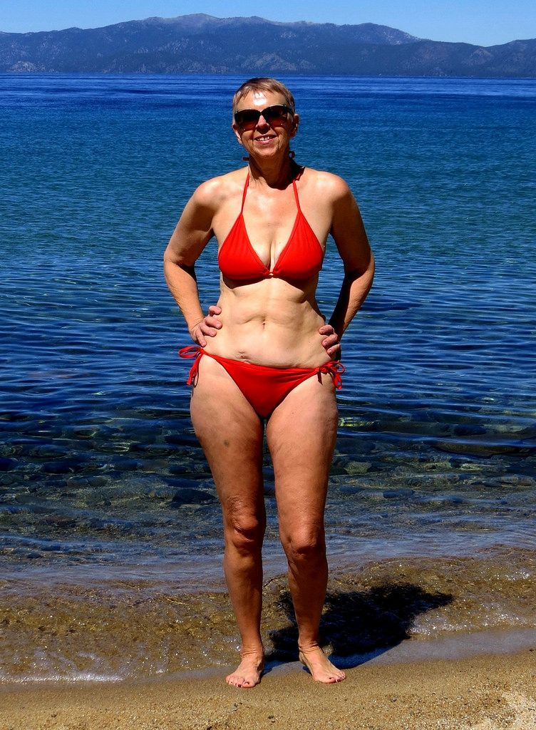Red Bikini Wife Blue Lake Tahoe Red Bikini Bikinis