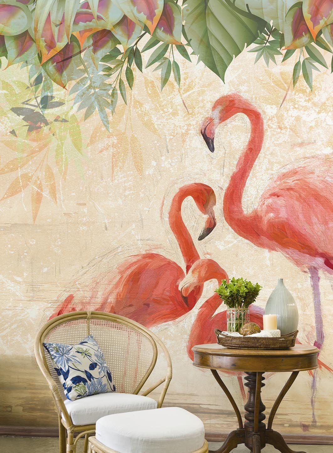 Flamingos party nel 2019 Carta da parati con fenicotteri