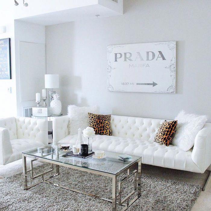 décoration salon blanc, deco blanc uni pour intérieur, tableau blanc ...
