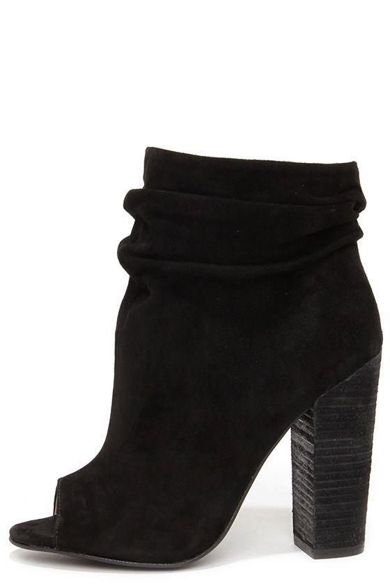 Kristin Cavallari Chinese Laundry Laurel - Black Suede Booties - Peep Toe Booties - $149.00
