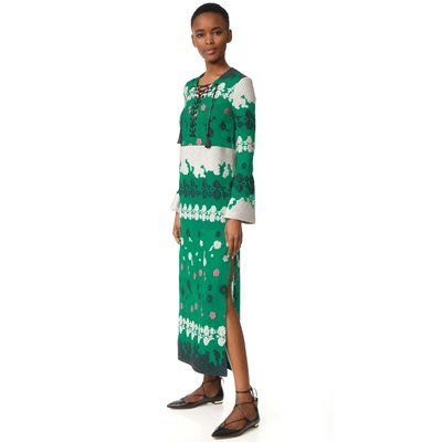 Splurge alert! This is the chicest caftan for St. Patrick's Day. Floral patterns make this lace-up dress a stylish statement piece.