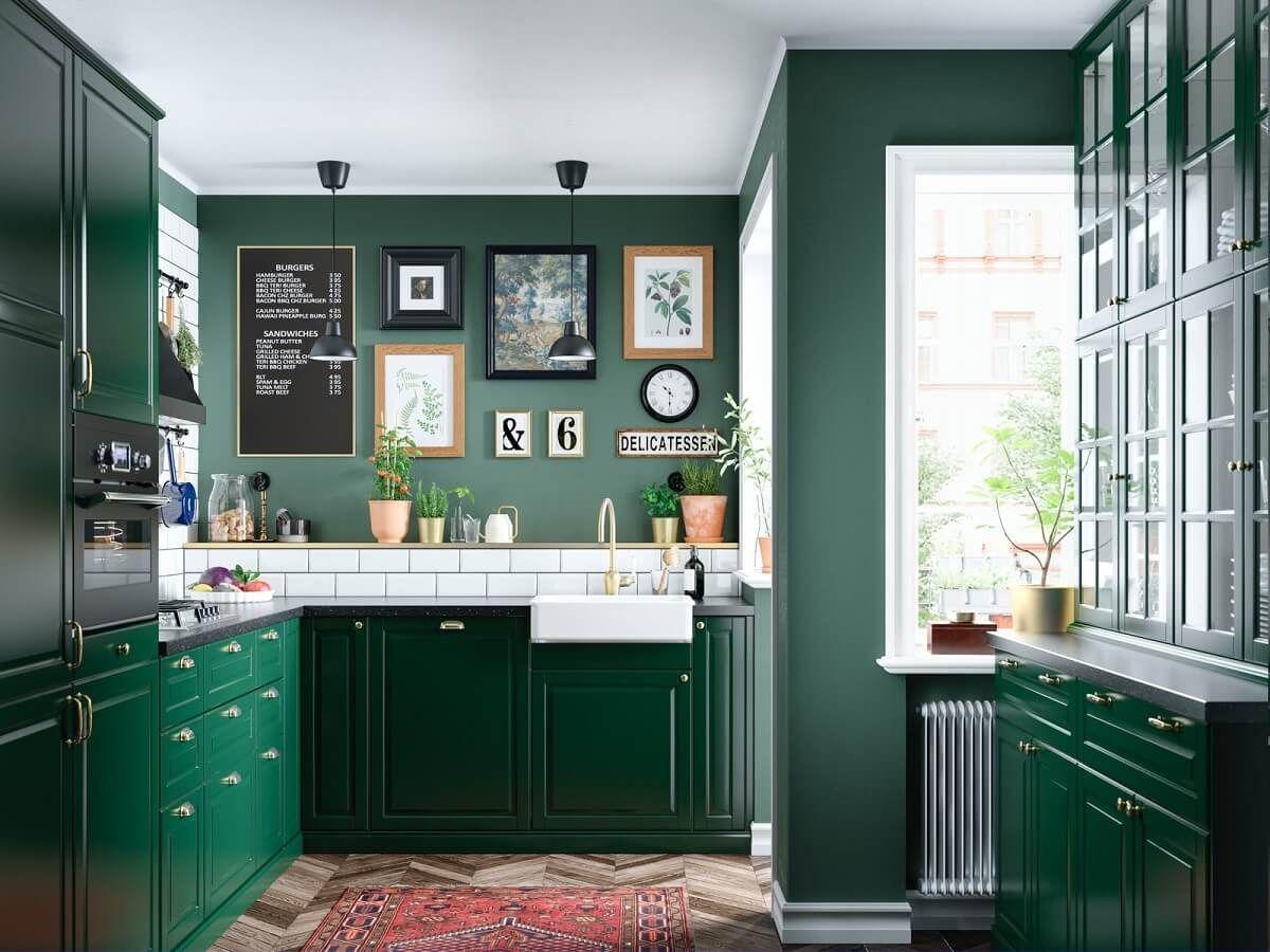 Ikea Metod Kitchen Design Uae Ikea Bodbyn Kitchen Dark Green Kitchen Green Kitchen Cabinets
