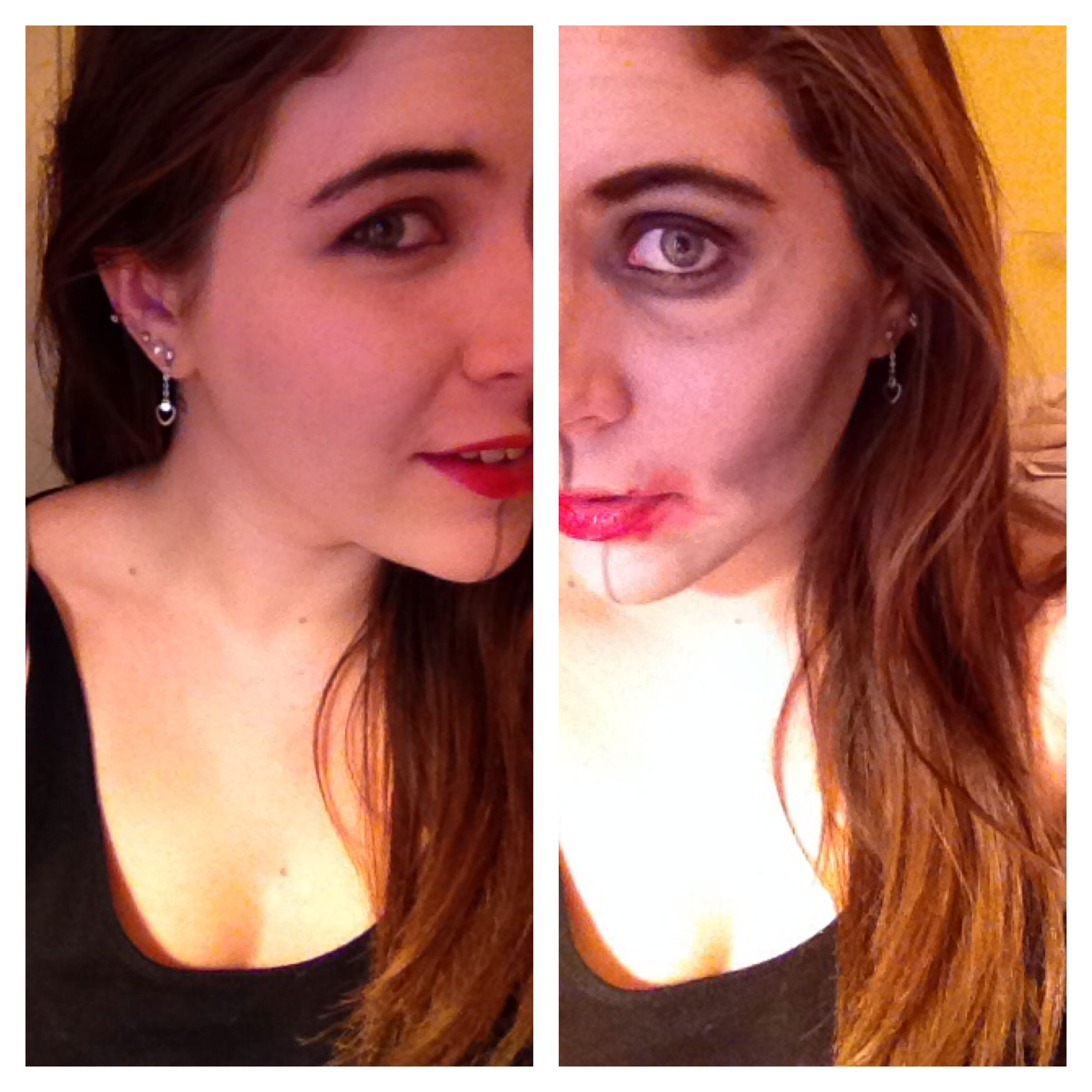 halloween makeup concept half pretty half ugly face