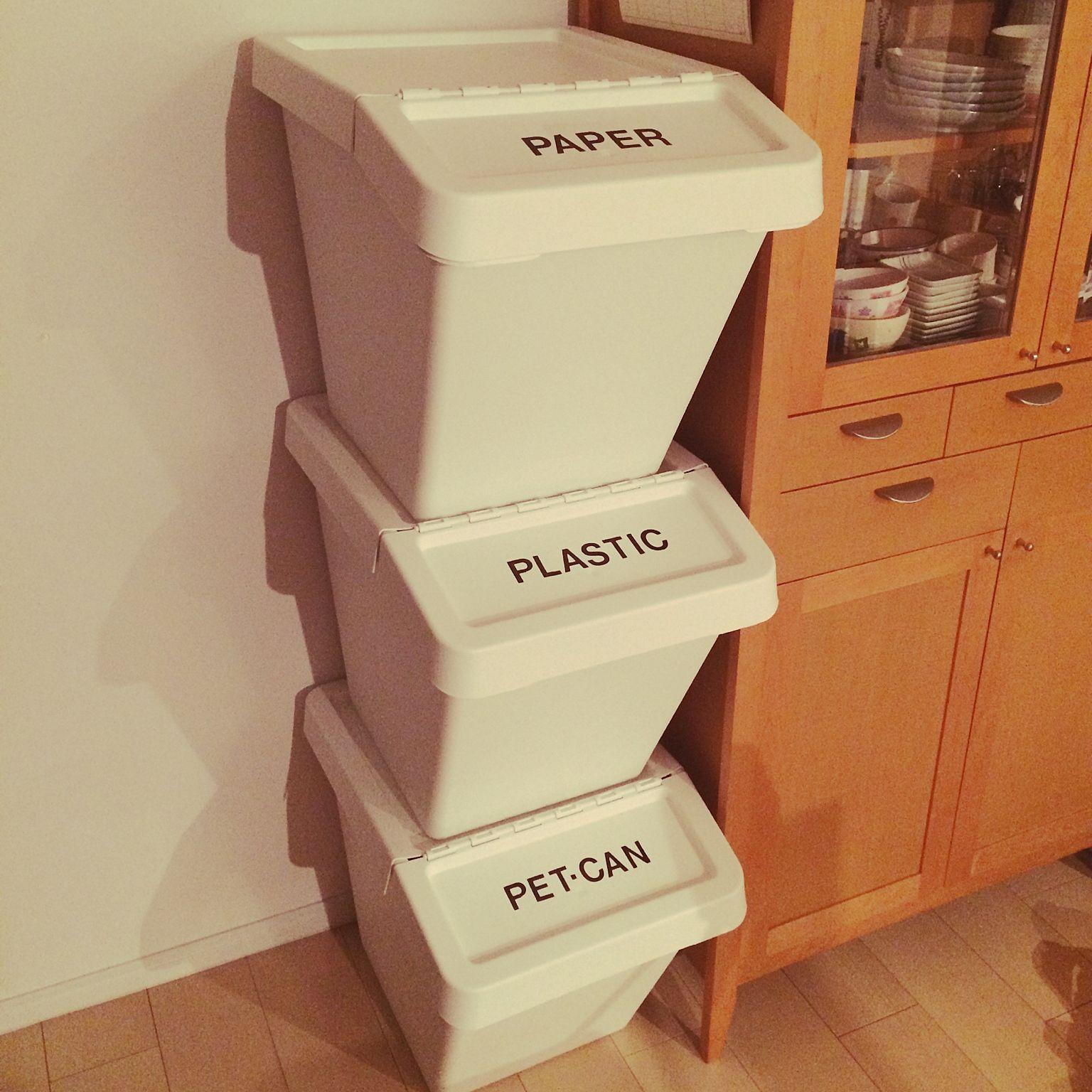 キッチン レタリングシール 分別ゴミ箱 Ikea Diyのインテリア実例