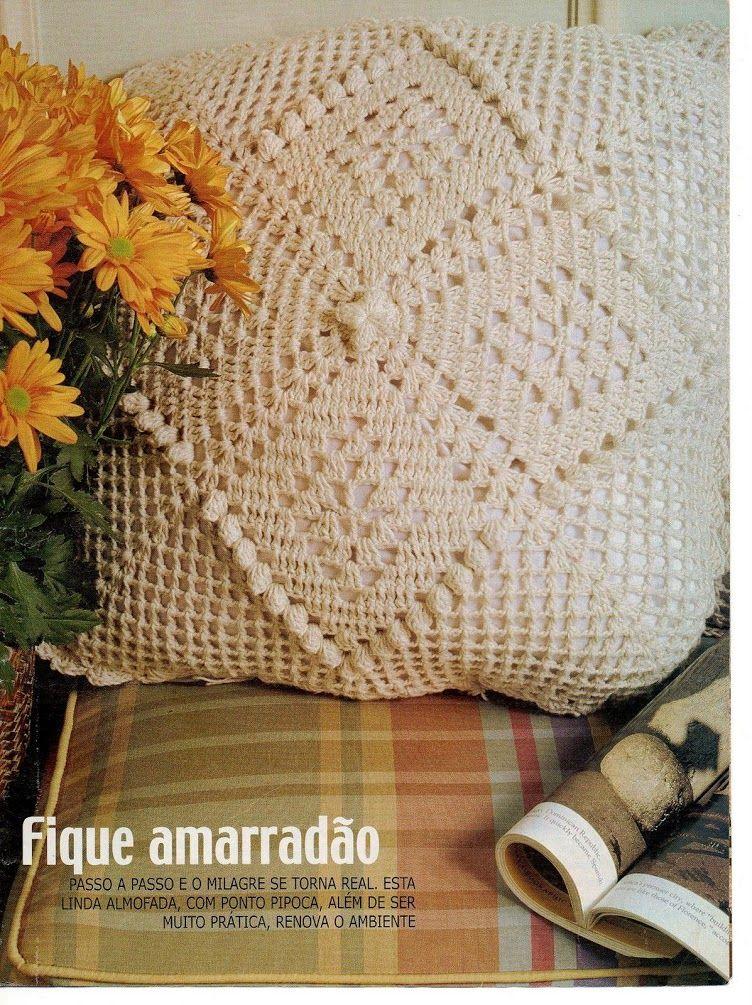 Almofada Ponto Pipoca Crochet Pillows Cojines
