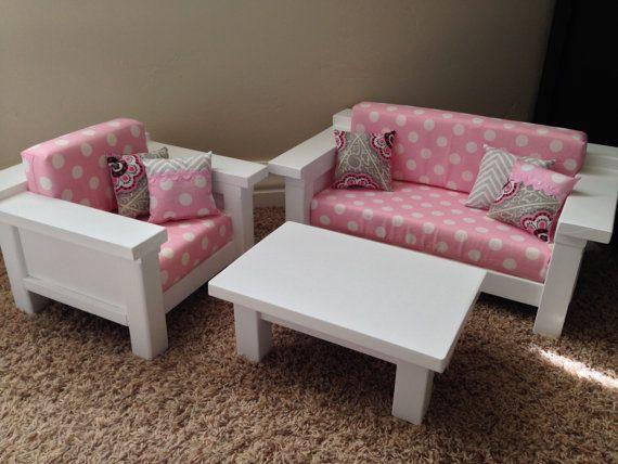 Muebles de American Girl. 3 pc sistema de sala de estar: sofá, silla ...