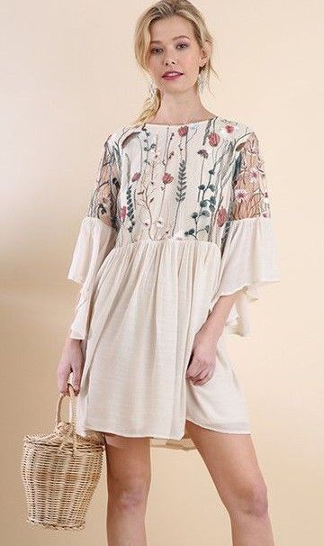 24ac86b88425 umgee embroidered Lace angel sleeve Boho mini dress S M L plus XL 1x 2x # UMGEE #ALineDress #AnyOccasion