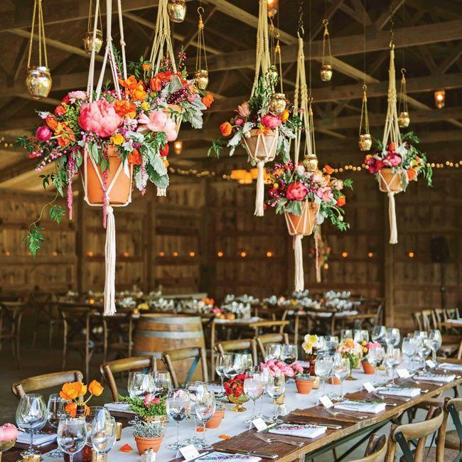 Barn Wedding Reception Decor: Macramé Hanging Floral Arrangements Work Wonders For This