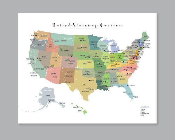 USA State Map, PRINTABLE USA Map, Large us map, United ...