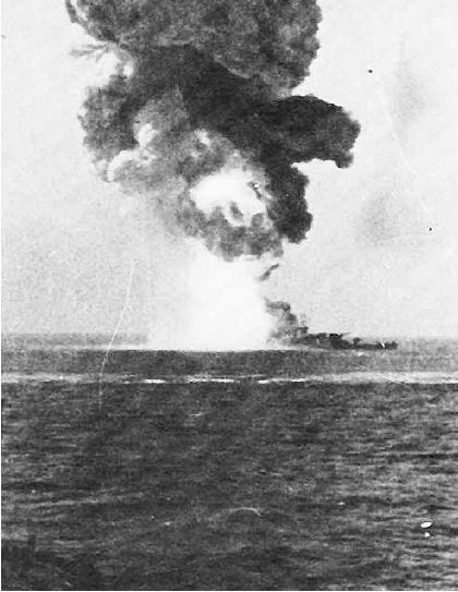 Italian Battleship Roma's magazines exploding after being struck by a Fritz X radio guided bomb. http://en.wikipedia.org/wiki/Largest_artificial_non-nuclear_explosions