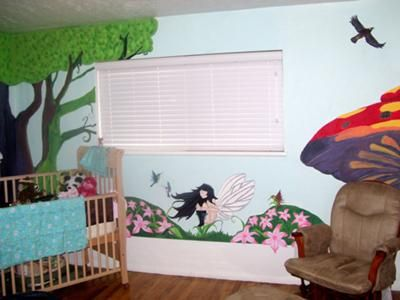 Nursery With A Fairy Princess And Woodland Creatures Wall Mural Painting The Picture Shows Back Of Baby S Enchanted Forest Theme
