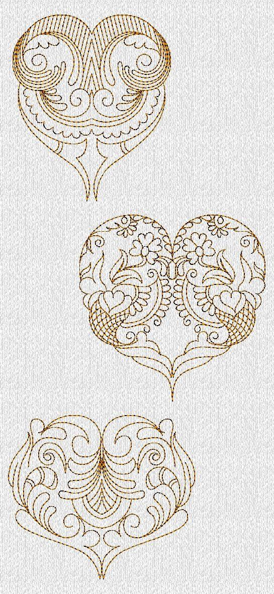 INSTANT DOWNLOAD Filigree Valentines Hearts Redwork Machine ...