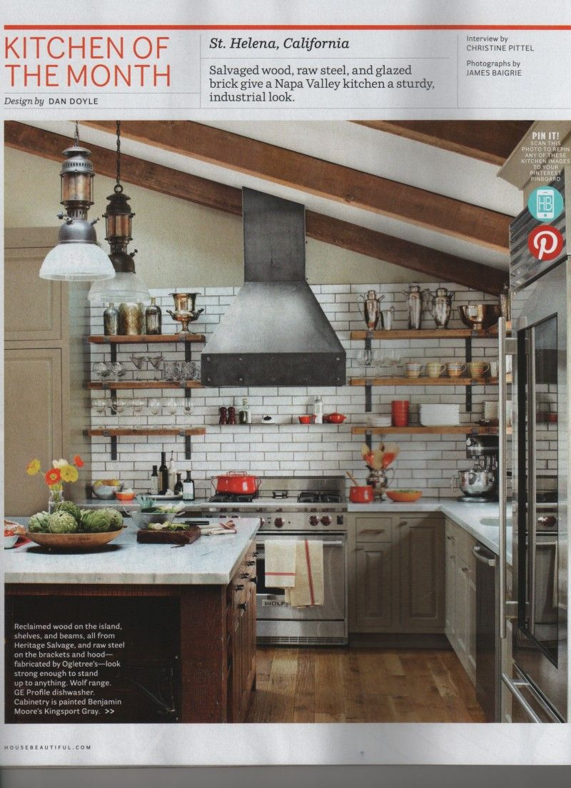 Just showing off an idea where one installs shelves rather than upper cabinets. Note how hight the tile goes.