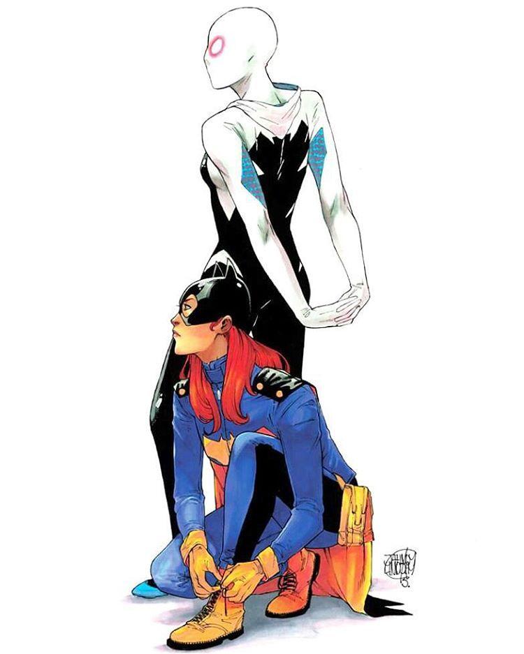 Batgirl and Spider-Gwen by Jahnoy Lindsey. #batgirl #spidergwen #marvel #dc #comics #markers #prismacolor #copic