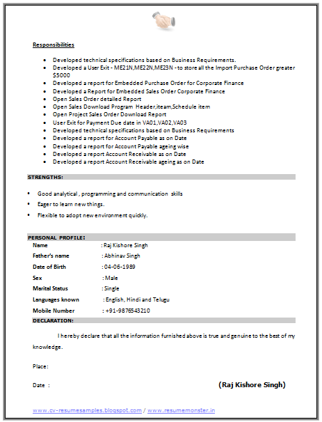 Cv Format For A Sap Consultant 2 Resume Examples Cv Resume Template Curriculum Vitae
